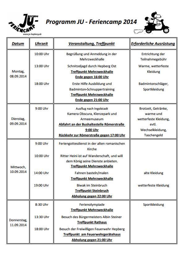 Feriencamp 2014 Programm Seite 1